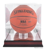 BASKETBALL / SOCCER BALL ACRYLIC DISPLAY CASE MAHOGANY BASE
