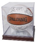 BALL QUBE BASKETBALL SOCCER BALL ACRYLIC DISPLAY CASE  WOOD BASE