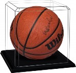 BASKETBALL SOCCER BALL ACRYLIC DISPLAY CASE BEVELED EDGES - OAK BASE
