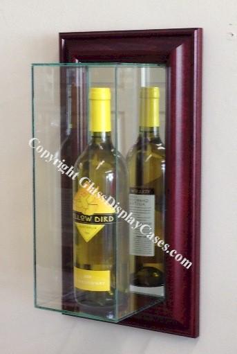Single Wine Liquor Bottle Wall Mount Glass Display Case