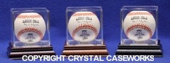 BALL QUBE SINGLE BASEBALL ACRYLIC DISPLAY CASE WOOD BASE 98% UV