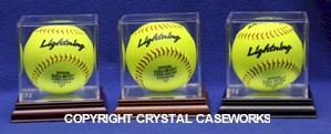 BALL QUBE SOFTBALL ACRYLIC DISPLAY CASE WITH WOOD BASE