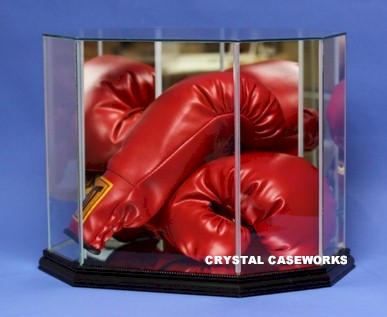 Etched Glass Boxing Glove Display Case For 1 Or 2 Gloves