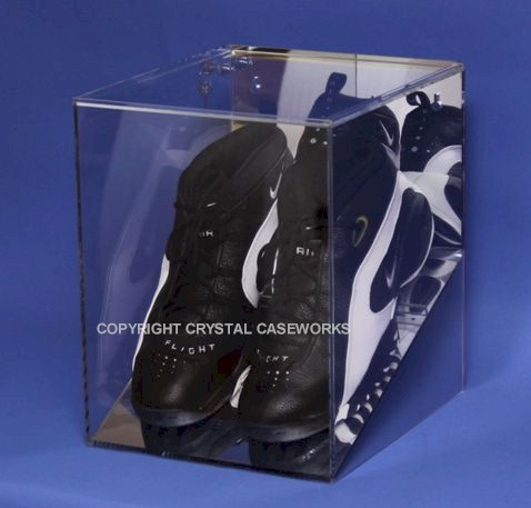 DOUBLE ATHLETIC SHOE - SNEAKER - CLEAT ACRYLIC DISPLAY CASE WALL MOUNT
