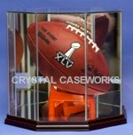 ETCHED GLASS FOOTBALL OCTAGON DISPLAY CASE - CUSTOM T-STAND
