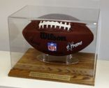 FOOTBALL ACRYLIC DISPLAY CASE - SOLID OAK WOOD BASE