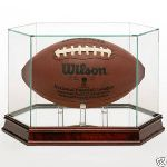 FOOTBALL HEXAGON GLASS DISPLAY CASE - CUSTOM PYLONS - CHERRY BASE