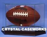 FOOTBALL HEXAGON GLASS DISPLAY CASE - MAHOGANY BASE