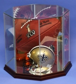 FOOTBALL + MINI HELMET OCTAGON GLASS DISPLAY CASE