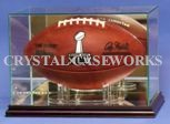 ETCHED GLASS FOOTBALL DISPLAY CASE - RECTANGLE - DESKTOP - PYLONS