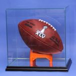 FOOTBALL RECTANGLE GLASS DISPLAY CASE WITH CUSTOM T STAND