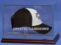 ETCHED GLASS CAP / HAT DISPLAY CASE FOR A FULL OPEN CAP - HAT