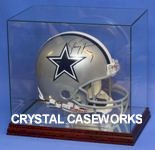 ETCHED GLASS FULL SIZE FOOTBALL HELMET DISPLAY CASE - CUSTOM STAND