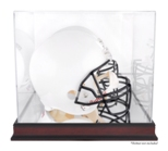 FOOTBALL HELMET ACRYLIC CASE WITH MAHOGANY BASE