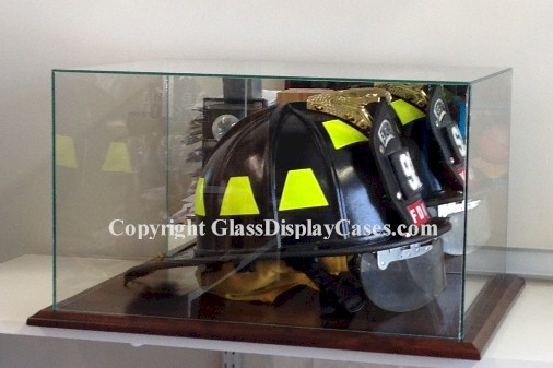 Firefighter Rescue Helmet Glass Display Case Cherry