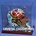HOCKEY GOALIE MASK GLASS DISPLAY CASE WITH CUSTOM STAND
