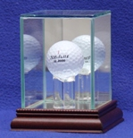SINGLE GOLF BALL GLASS DISPLAY CASE - CUSTOM STAND