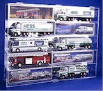 10 HESS TRUCK OR FIRE ENGINEACRYLIC DISPLAY CASE - 10 FREE NAME PLATES
