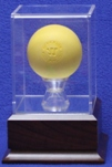 LACROSSE BALL ACRYLIC DISPLAY CASE - CHERRY FINISH WOOD BASE