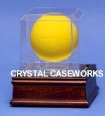 LACROSSE BALL ACRYLIC DISPLAY CASE - BUILT IN STAND - WOOD BASE
