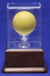 LACROSSE BALL ACRYLIC DISPLAY CASE - SOLID WALNUT PLATFORM BASE