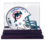MINI HELMET ACRYLIC DISPLAY CASE MAHOGANY BASE
