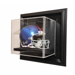 FULL SIZE HELMET WALL MOUNT ACRYLIC DISPLAY CASE - WOOD FRAME