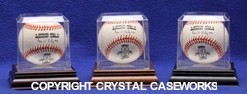 BASEBALL ACRYLIC DISPLAY CASE - BEVELED EDGES - WOOD BASE