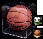 BASKETBALL SOCCER BALL ACRYLIC DISPLAY CASE BEVELED EDGES
