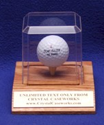 GOLF BALL ACRYLIC DISPLAY CASE WITH SOLID OAK BASE & TEE