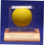 SINGLE LACROSSE BALL ACRYLIC DISPLAY CASE - SOLID OAK BASE