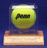 SINGLE TENNIS BALL ACRYLIC DISPLAY CASE - SOLID OAK BASE