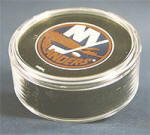HOCKEY PUCK ROUND ACRYLIC DISPLAY CASE - TUBE