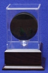 HOCKEY PUCK  ACRYLIC DISPLAY CASE - CHERRY FINISH PLATFORM WOOD BASE