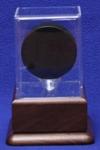 HOCKEY PUCK ACRYLIC DISPLAY CASE - SOLID WALNUT PLATFORM BASE