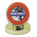 SINGLE HOCKEY PUCK ACRYLIC DISPLAY CASE GOLD BASE