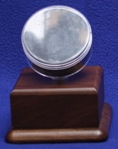 HOCKEY PUCK ACRYLIC DISPLAY CASE - ROUND HOLDER - WALNUT PLATFORM BASE
