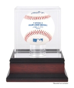 SINGLE BASEBALL ACRYLIC DISPLAY CASE MAHOGANY BASE