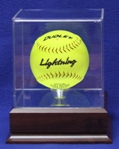 SOFTBALL ACRYLIC DISPLAY CASE WITH PLATFORM WOOD BASE