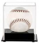 SINGLE SOFTBALL ACRYLIC DISPLAY CASE BLACK BASE