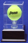TENNIS BALL ACRYLIC DISPLAY CASE - WOOD PLATFORM BASE