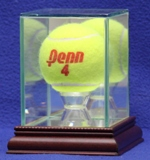 ETCHED GLASS SINGLE TENNIS BALL DISPLAY CASE - DESKTOP