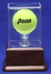 TENNIS BALL ACRYLIC DISPLAY CASE - WALNUT PLATFORM BASE
