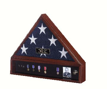 TRADITIONAL BURIAL CASKET MEMORIAL FLAG DISPLAY CASE WITH