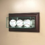 ETCHED GLASS TRIPLE BASEBALL DISPLAY CASE � WALL MOUNT
