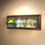 ETCHED GLASS TRIPLE 3 MINI HELMET DISPLAY CASE – WALL MOUNT