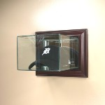 ETCHED GLASS CAP / HAT DISPLAY CASE FOR FOLDED CAP - WALL MOUNT