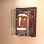ETCHED GLASS FOOTBALL DISPLAY CASE � VERTICAL � WALL MOUNT