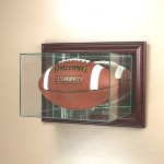 ETCHED GLASS FOOTBALL DISPLAY CASE � WALL MOUNT