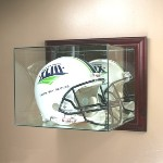 ETCHED GLASS FULL SIZE FOOTBALL HELMET DISPLAY CASE � WALL MOUNT